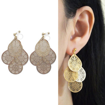 Chandelier Filigree Invisible Clip On Earrings Gold Dangle Boho Clip Earrings Bohemian Earrings Statement Clip Ons Non Pierced Earrings