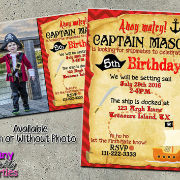 PIRATE BIRTHDAY INVITATION - pirate invitation - pirate party invitations - pirate ship birthday invitation - pirate map invitation diy