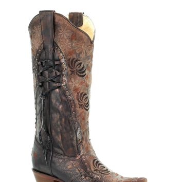 Corral Vintage Copper Floral Studded Boot