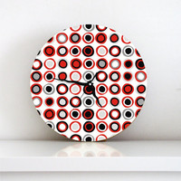 wall clock black white red gray circles swirls geometric decor wall art home decor living room housewarming hostess wall hanging gift idea