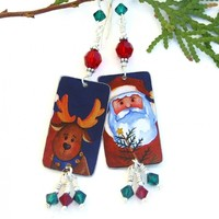Santa and Reindeer Christmas Earrings, Red Green Crystals Upcycled Holiday Jewelry for Women
