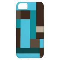 Turquoise Blue Teal & Brown Geometric Modern Art iPhone 5C Cover- Modern iphone 5C cases, geometric iphone 5c case, cool gifts for him