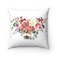Worlds Best Mother Faux Suede Square Pillow, Pink Rose Decorative Throw Pillow, Throw Pillow for Mom