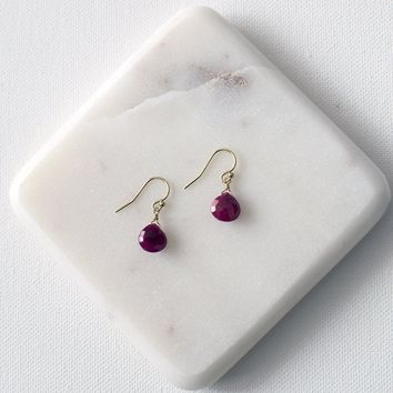 Ruby Briolette Drop Earrings