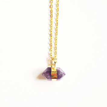 Amethyst Necklace, Pendant Necklace, Boho Necklace, Gold Plated Crystal Necklace, Double Point Necklace, Layer Necklace