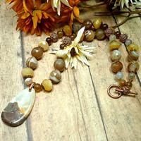 Chunky Brown and Yellow Botswana Agate with Copper Handmade Necklace