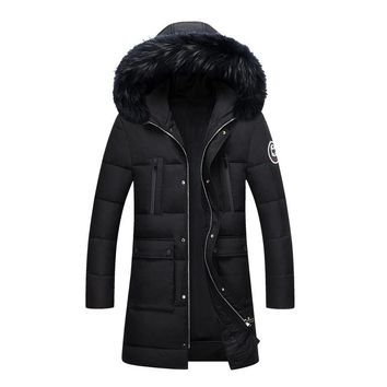 Long Slim Parka Coat Men Thick Warm Fur Collar Hooded