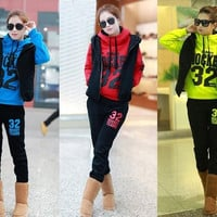 HOT Sale New 2014 Women Fashion Cotton Hoodies Clothing Set Long Sleeve Blues Tracksuits Sweatshirt Sport Suit 3 Pc = 1932612420