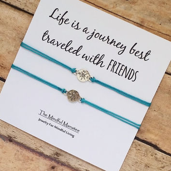"Silver Compass Friendship Bracelet Set With ""Life Is A Journey Best Traveled With Friends"" Card 
