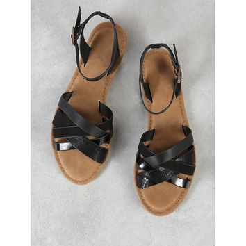 Strappy Open Toe Sandal with Ankle Strap BLACK