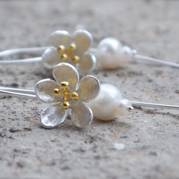 Silver flower bridal earrings Minimal woodland inspired dangle earrings 925 Sterling large blossom Mixed metal Gold vermeil floral jewellery