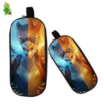 Mega Charizard Split Pencil Case Boys Girls Stationery Storage Bags Double Layer Pen Pouch Large Capacity Makeup BagKawaii Pokemon go  AT_89_9