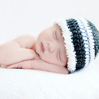 Newborn boy hat, crochet baby hat, baby crochet props, striped baby beanie, gray white blue, newborn to toddler size