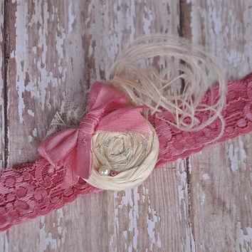 Lady of Grace boutique headband - shabby chic - photo prop - newborn headband - girls headband - pink headband - silk headband - couture