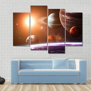 Full Solar System Illustration Multi Panel Canvas Wall Art