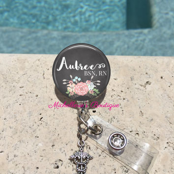Retractable Badge Holder, Floral Chalkboard Personalized Badge Reel, Monogram Badge Reel, Nurse Badge Reel, Badge Holder, MB300