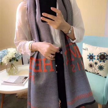 Best Online Sale Hermes Keep Warm Scarf  Soft Scarves Winter Wool Grey Shawl