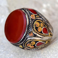 Red Carnelian Ring Tribal Carved Ethnic Jewelry Hippie Gypsy Boho Afghan Kuchi