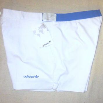 Vintage New With Tags 80s ADIDAS TENNIS ATHLETIC Deadstock Stylish Hip Unisex Medium Waist 33 Rare White Poly Cotton Short Shorts