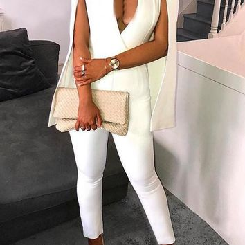 White Deep V-neck One Piece Cape High Waisted Office Worker Formal Party Jumpsuit
