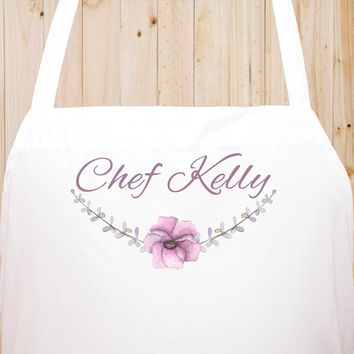 Custom Text Floral Flowers Chef Fun Kitchen Apron, BBQ Apron, Restaurant Apron Quality Cooks Clothing  FL21