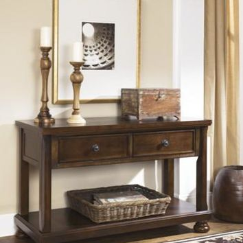 T697-4 Porter Console Sofa Table Rustic Brown Free Shipping!