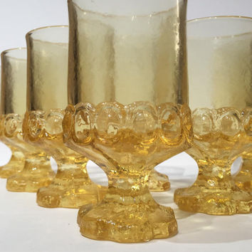 Yellow Tiffin Franciscan Madeira Wine Goblets, Set of 8 Franciscan Madeira Cornsilk Yellow Water Glasses, New Old Stock, New In Original Box