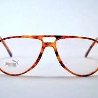 Vintage 80s Super Chic PUMA Tortoise Shell Aviator/Trucker Frames - Hip Hop Urban Club