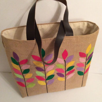 Colorful leaves branches handmade jute tote bag,summer tote bag,appliqué, embroidered,beach tote bag, Casual Tote Bag, floral bag