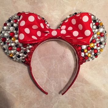 Red Polka-Dot Bedazzled Minnie Mouse Ears