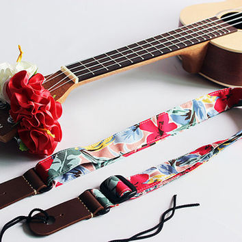Ukulele strap & ribbon lei / tropical pink / ukulele soft case / hawaiian fabric / pineapple / lesson bag / instrument case