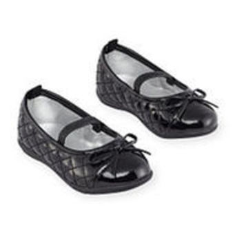 Koala Kids Girls Black Quilted Toe Cap Hard Sole Mary Jane Flats with Bow Detail