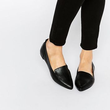 ALDO Bazovica Black Leather Flat Ballerina Shoes