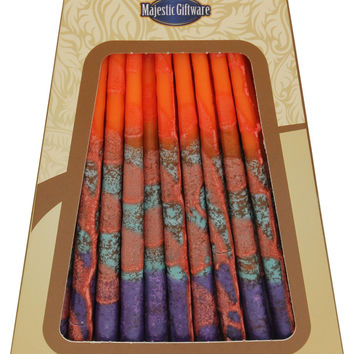 Lamp Lighters Ultimate Judaica Safed Chanukah Candles - 45 Pack - Orange/Purple - 6""