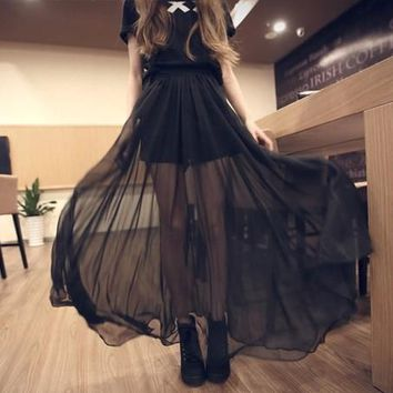 Sheer Maxi Overlay black dress with short pants, Celebrity Style