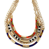 TRIBAL SEED-BEAD STATEMENT NECKLACE