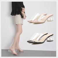 Women's new popular fish-tip crystal chunky slippers