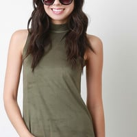 Suede Mock Neck Sleeveless Top