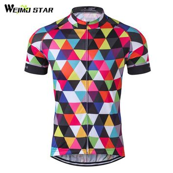 Weimostar Colorful Bicycle Clothing Team Racing Sport Cycling Jersey Quick Dry Short Sleeve mtb Bike Jersey Cycling Clothing