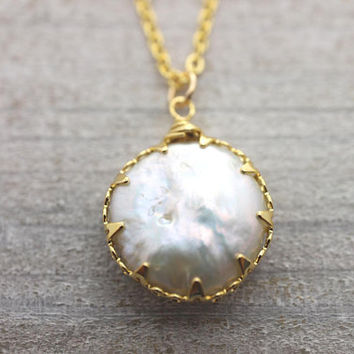 Natural big pearl gold necklace