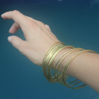 Brass Bangles, SET OF 15, Handmade hammered wire yellow brass stacking Bangles, faux gold bracelets, Statement jewelry