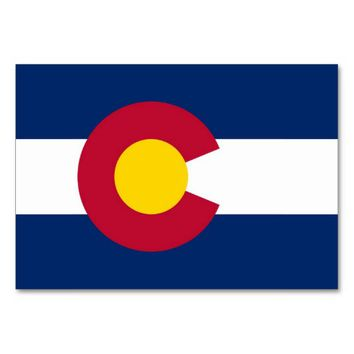 Patriotic table card with Flag of Colorado
