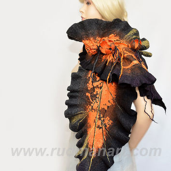 NEW Felted scarf 3D ART made from wool and silk Rust Black Orange Shibori Tulips
