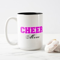 Cheer Mom Typography in Pink and Black Two-Tone Coffee Mug