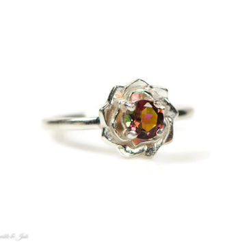 Sterling Silver Genuine Sunrise Mystic Topaz Flower Ring