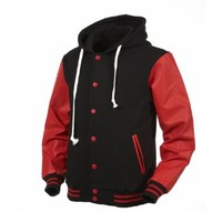 Angel Cola Black & Red Hoodie Varsity Cotton & Leather Letterman Jacket