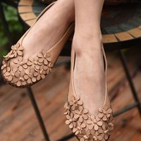 Handmade Leather Shoes For Women Flat Lace Up Hollow Style Brown Designer Shoes