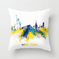 New York City Skyline Throw Pillow by Jbjart