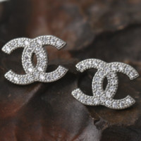 Chanel high fashion small zircon zircon earrings earrings jewelry