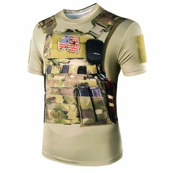 2018 New Camouflage men 3D style  military camo T Shirt tactical Combat Summer Quick Dry T-Shirts hunting Apparel